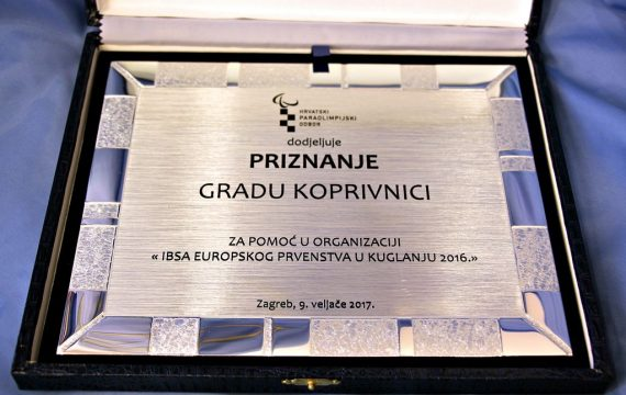 The city of Koprivnica won an award for help in organizing the 16th IBSA European Championship in Bowling 2016