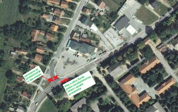 Obavijest o izmjeni načina prometovanja u Ulici Čarda u Koprivnici